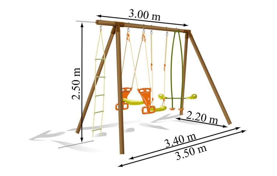 Dimension du portique et de la balançoire pour enfant en bois Carambole