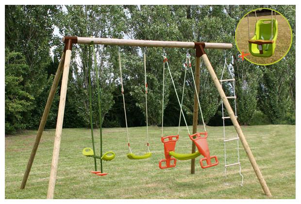 Balan oires avec chelle de corde carambole jardin for Balancoire jardin bois