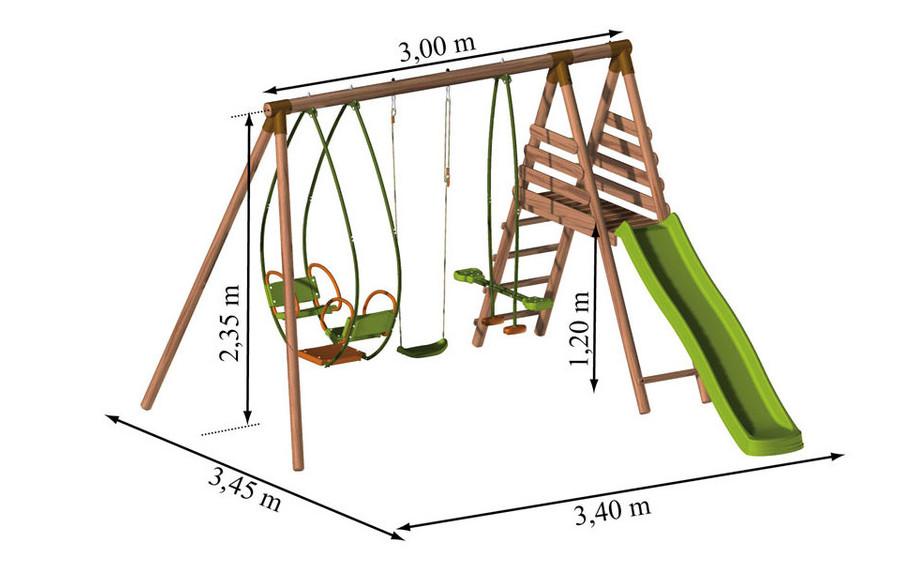 Dimensions de la station balançoire en bois Cannelle
