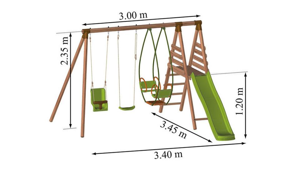 Dimension du portique et de la balançoire pour enfant en bois Fougère