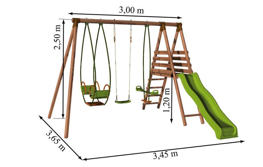 Dimensions de la station balançoire en bois Cumin