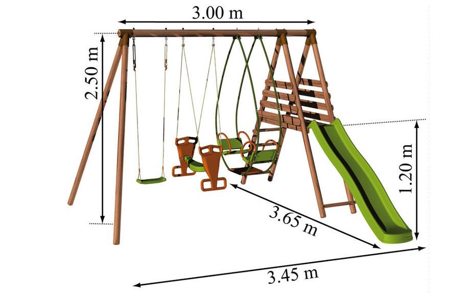 Dimensions de la station balançoire en bois Hellebore