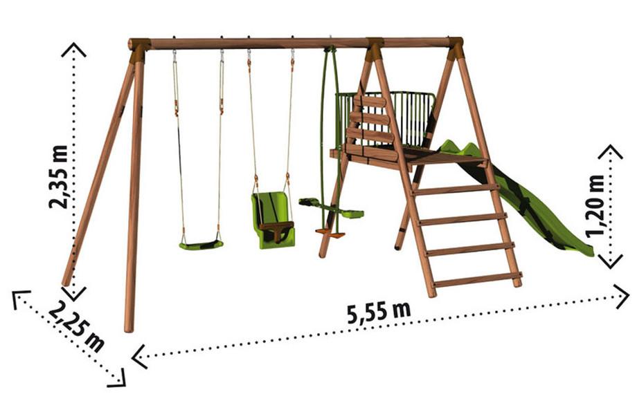 Dimension du portique et de la balançoire pour enfant en bois Cayenne