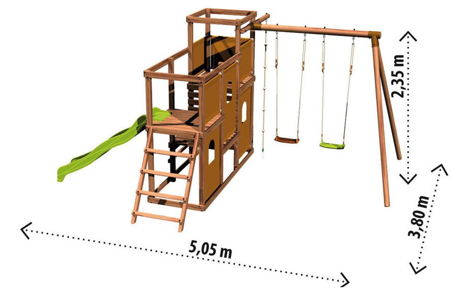 espace de jeux en bois esterel une forteresse pour les enfants jardin. Black Bedroom Furniture Sets. Home Design Ideas