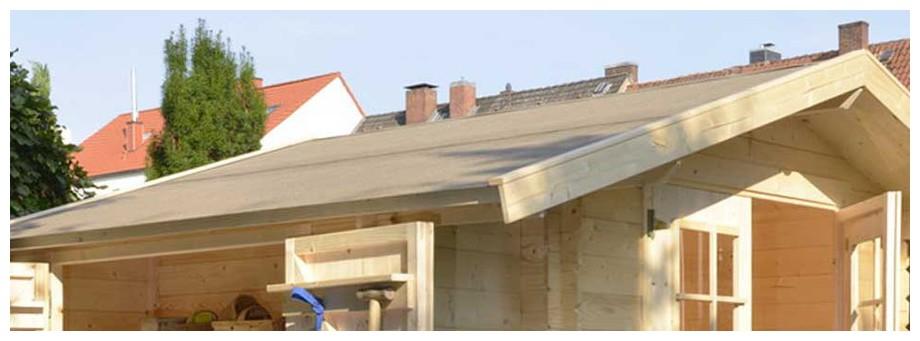 détail de la toiture de l'abri de jardin en bois Buffalo Luoman en situation