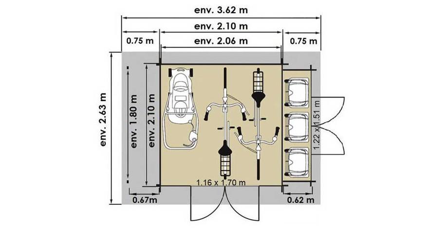 plan de l'abri de jardin en bois Buffalo Luoman en situation