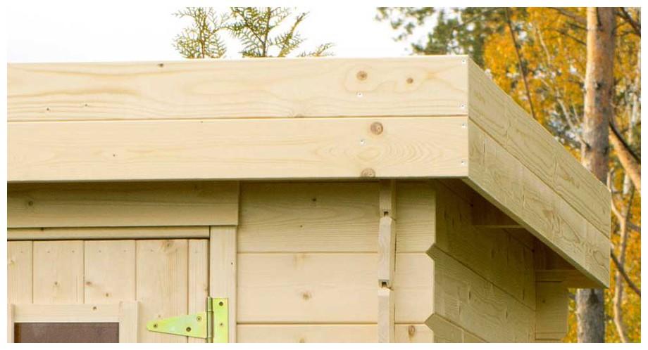 Détail de la toiture de l abri de jardin contemporain en bois Ontario en situation