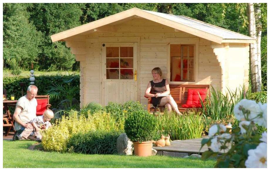 abri en bois de jardin Honey simple porte de Luoman en situation