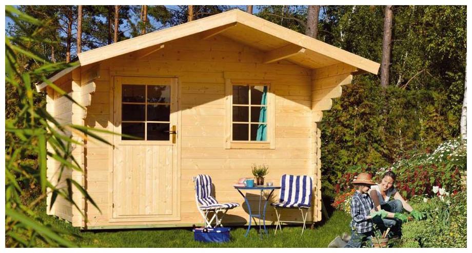 détail des matériaux de l'abri en bois de jardin Honey simple porte Luoman en situation