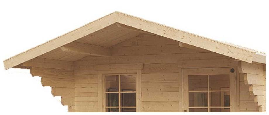 détail de la toiture de l'abri en bois de jardin Honey simple porte de Luoman en situation