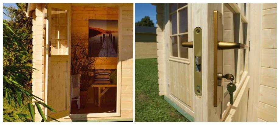 détail de la porte de l'abri en bois de jardin Honey luoman en situation