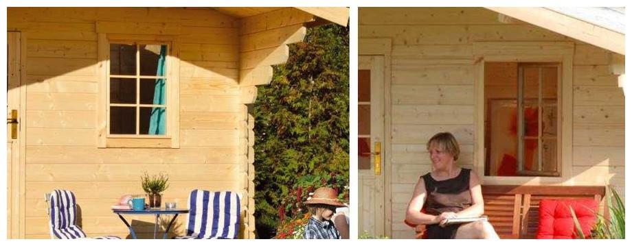 détail de la fenêtre de l'abri en bois Honey Luoman en situation