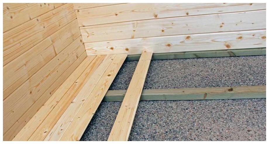 détail du plancher inclus de l'abri en bois Nicaragua Luoman en situation
