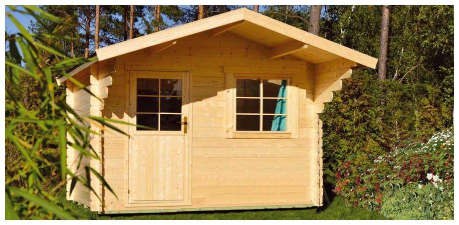détail des matériaux de l'abri en bois de jardin Nicaragua simple porte Luoman en situation