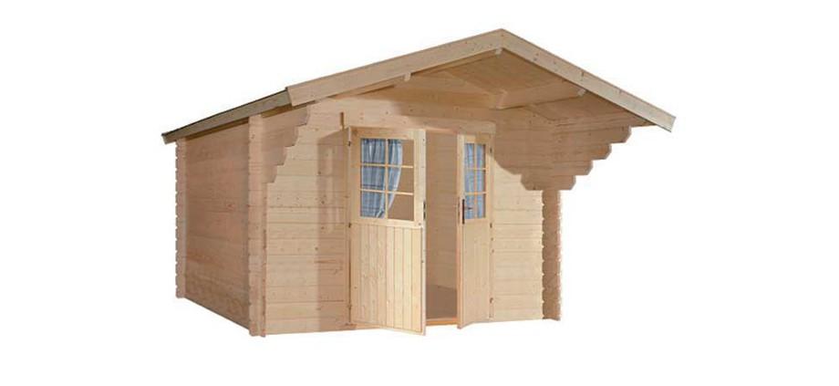 détail de l'abri en bois de jardin Nicaragua 44 mm Luoman double porte