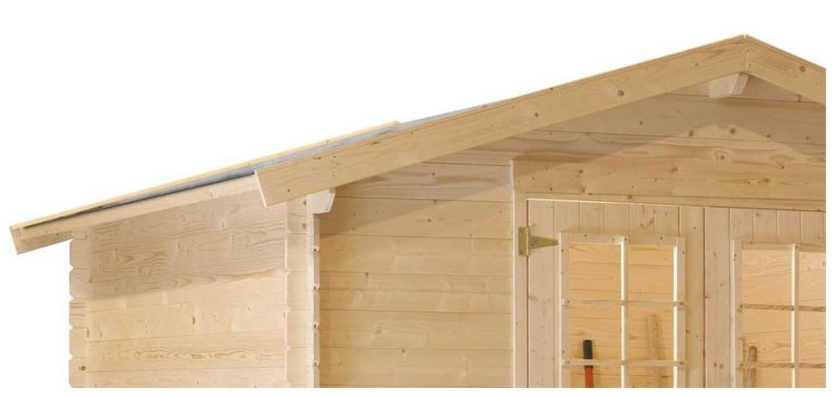 détail de la toiture de l'abri de jardin en bois Leman 141 Luoman en situation