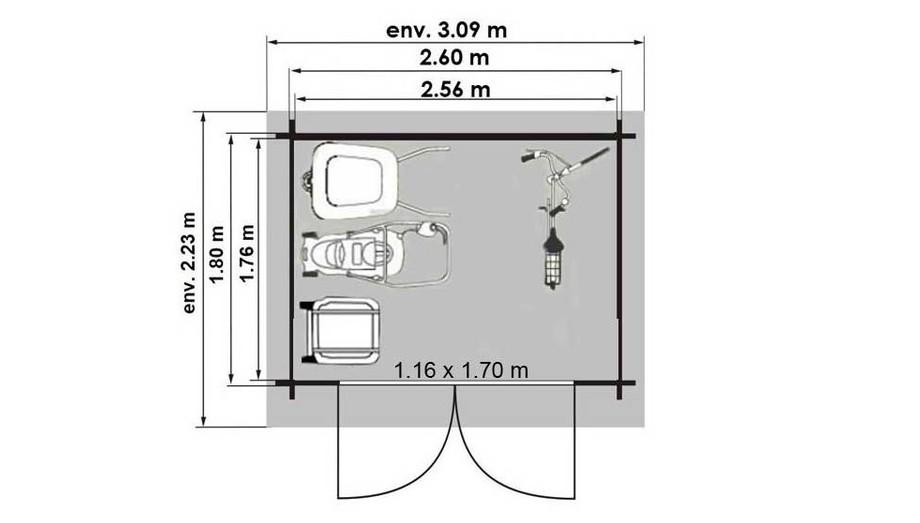 plan de l'abri de jardin en bois Leman 141 Luoman en situation