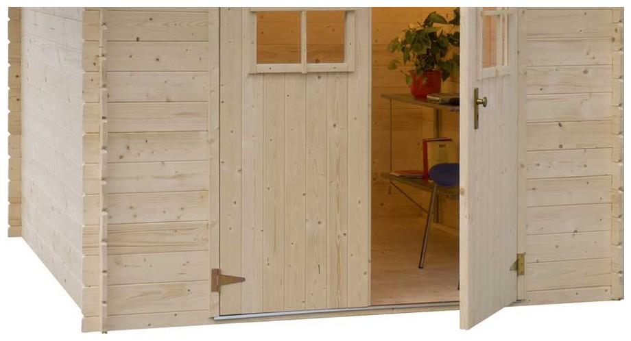 détail de la porte de l'abri en bois Leman 141 Luoman en situation