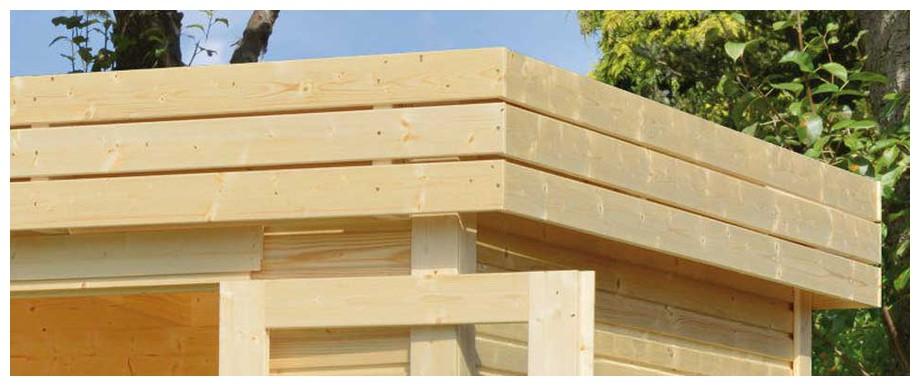 détail de la toiture de l'abri en bois de jardin Cherokee Luoman en situation