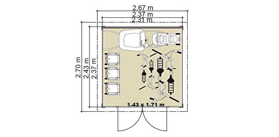 plan de l'abri en bois de jardin Cherokee Luoman en situation