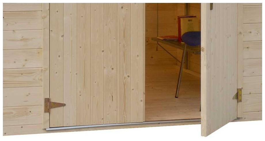 détail de la porte de l'abri bois de jardin Michigan Luoman en situation
