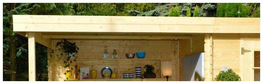 détail de la toiture de l'abri en bois de jardin Michigan Luoman en situation