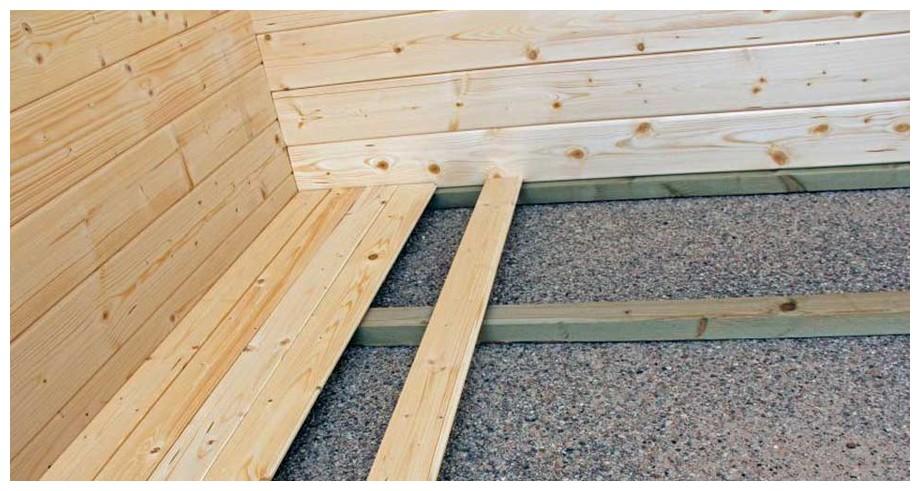 plancher inclus de l'abri en bois de jardin Michigan Luoman en situation