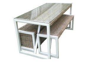 Ensemble table et chaise en rotin kubu existe en deux - Table et chaise gain de place ...
