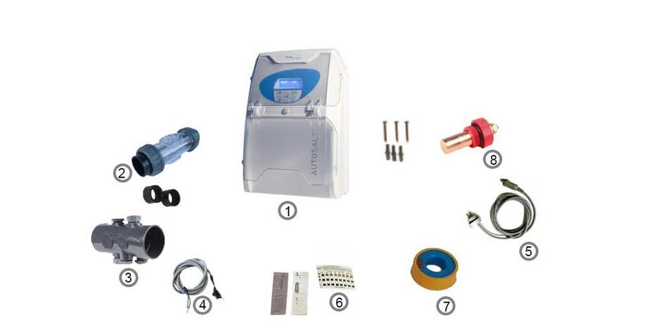 accessoires fournis avec l'électrolyseur sel Autosalt by Pool Energie