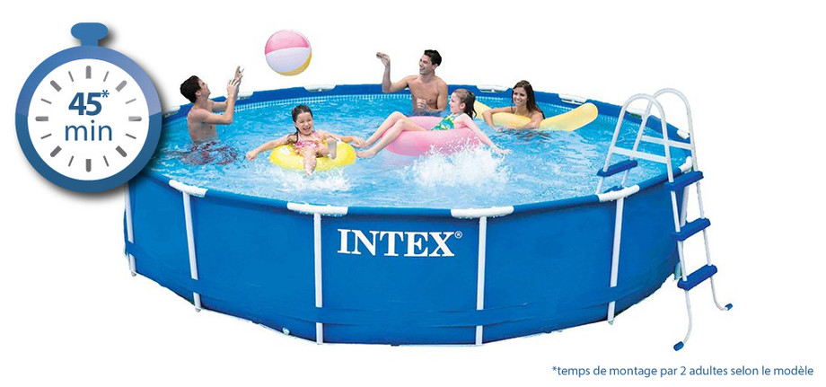 piscine tubulaire ronde Metal Frame Intex - temps de montage