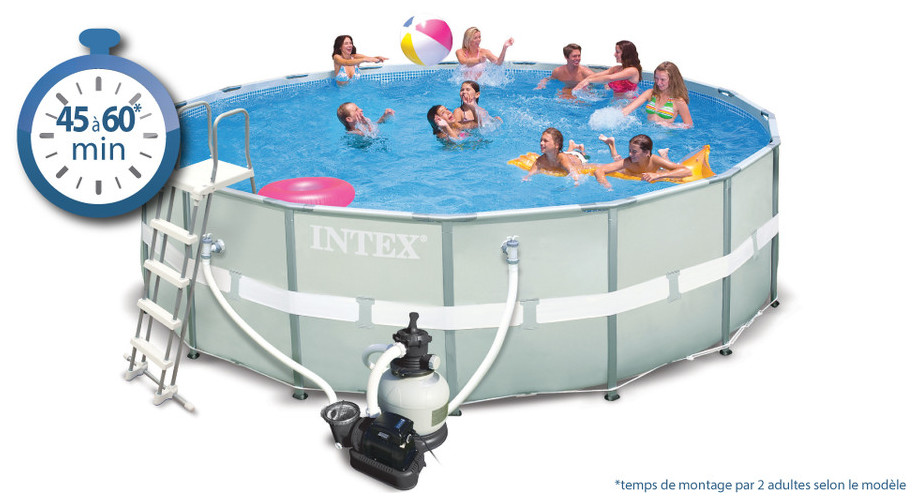 Piscine hors sol ultra frame intex piscine center net for Robot pour piscine intex