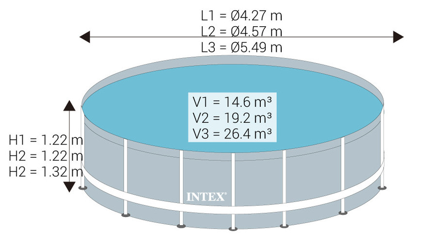 Ultra Frame - Kit piscine tubulaire ronde par Intex - 3 dimensions