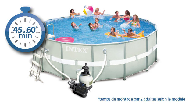 Piscine tubulaire ronde ultra frame intex piscine center net - Temps de filtration piscine ...