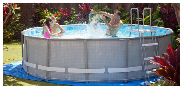 Piscine hors sol ultra frame intex piscine center net for Piscine tubulaire grise