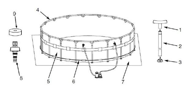Toute quip e et pr te pour l 39 t la piscine ronde intex for Piscine hors sol armature metallique