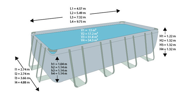 Piscine intex ultra silver piscine center net for Dimension piscine