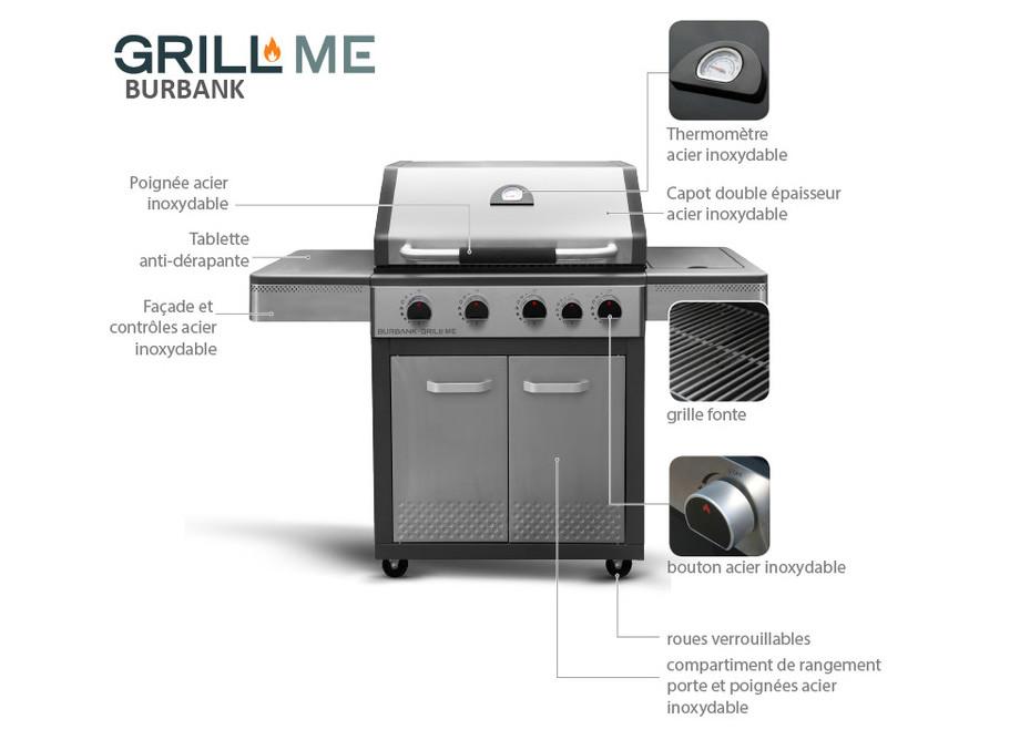 Burbank - Barbecue gaz à allumage automatique - schéma
