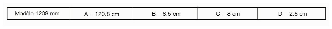 dimensions modèle 1208 mm de la lame d'eau de piscines astral