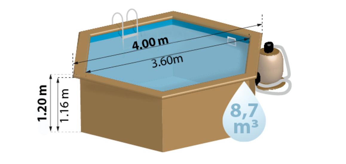 schéma et dimensions de la piscine bois hexagonale Woodfirst Originale