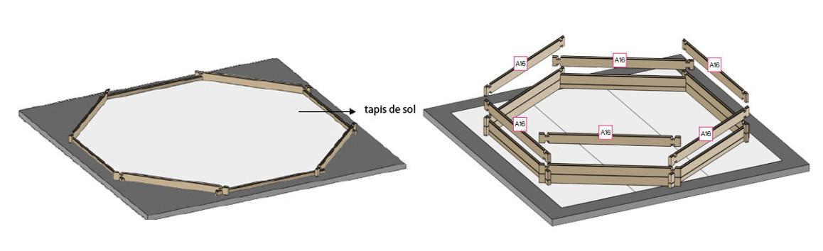 feutre de fond pour le kit de la piscine hors sol hexagonale Woodfirst Original 400 par 120 cm