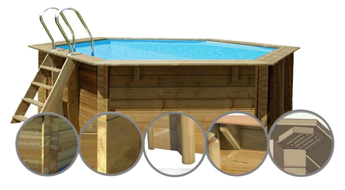 structure de la piscine bois woodfirst original hexagonal vanille 2