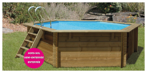 Woodfirst original piscine en bois hexagonale piscine for Piscine hexagonale semi enterree