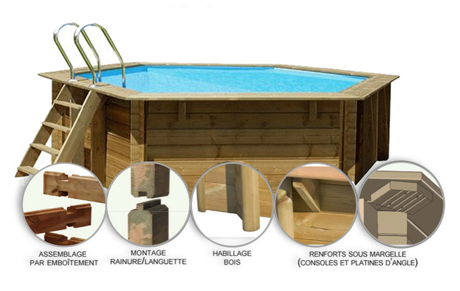 piscine bois hexagonale woodfirst originale 412x119cm structure