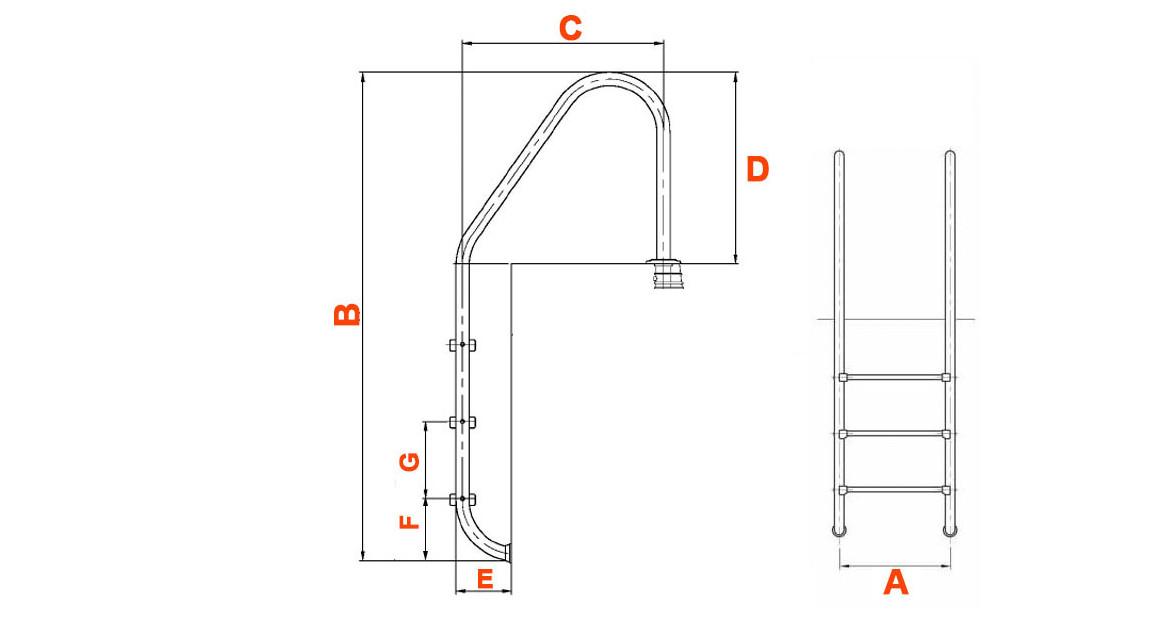 schéma des dimensions de l'échelle tout inox pour piscine enterrée