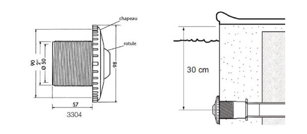buse de refoulement piscine beton - schema details