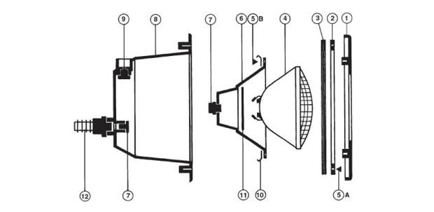 Hayward l 39 clairage par 56 compatible piscines b ton et for Presse etoupe projecteur piscine