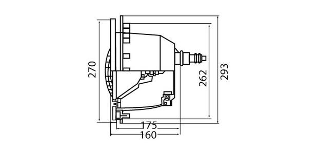 projecteur piscine - coupe et dimensions