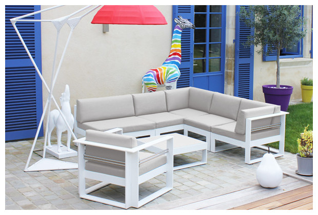 Salon d 39 ext rieur 6 places en thermolaqu blanc jardin for Salon de jardin rotin blanc