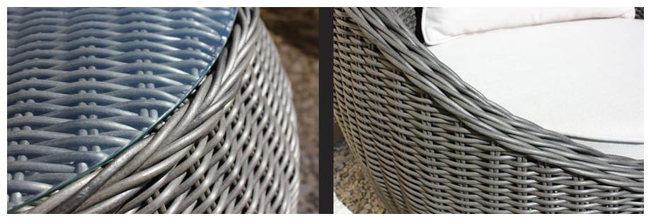 Détail du fauteuil et de la table Bali en résine tressée