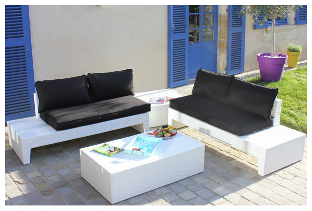 Salon de jardin en r sine blanche hawa 4 places for Blanche porte salon de jardin